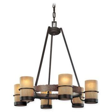 Troy Lighting Bamboo 6-Light Chandelier in Bronze with Glass Shades
