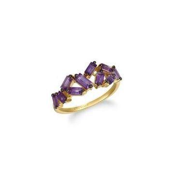 Baguette Frenzy 14K Honey Gold & Grape Amethyst Ring