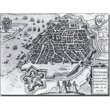 Trademark Art 'Map of Antwerp, 1598' Canvas Art
