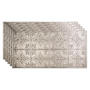 Fasade 48-in x 24-in Traditional 2 5-Pack Brushed Aluminum Patterned Surface-Mount Ceiling Tiles