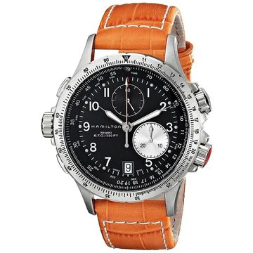 Hamilton Men's H77612933 'Khaki ' Chronograph Orange Leather Watch