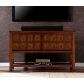Southern Enterprises Apothecary Console/TV Stand in Mahogany