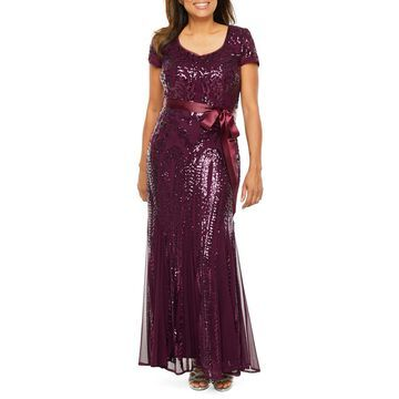 R & M Richards Short Sleeve Embellished Evening Gown-Petite