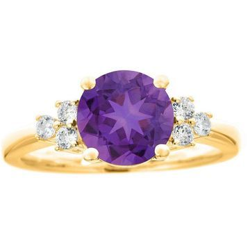 Premier 1.50cttw Round Amethyst & Diamond Ring,14K