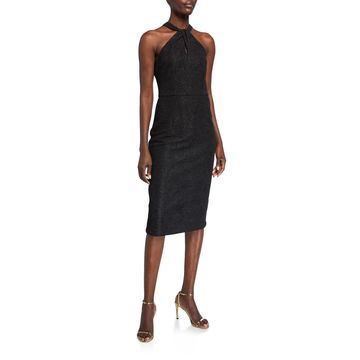 Twisted Crepe Halter-neck Sheath Dress
