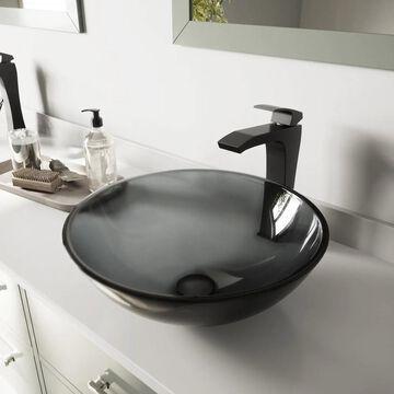 VIGO Sheer Black Vessel Bathroom Sink and Blackstonian Faucet Set