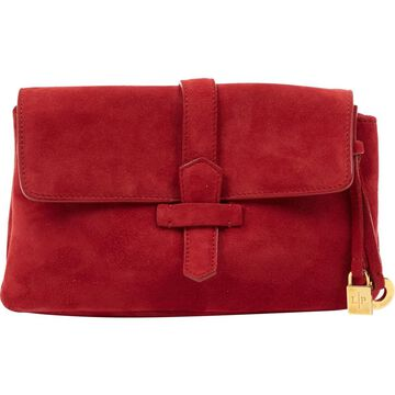 Loro Piana Burgundy Suede Clutch Bag