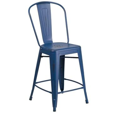 Flash Furniture Antique Blue Counter height (22-in to 26-in) Bar Stool Rubber | 889142080961