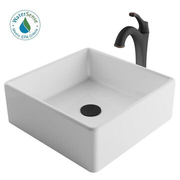 Kraus White Ceramic Vessel Square Bathroom Sink with Faucet (Drain Included) (15-in x 15-in)