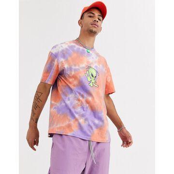Jaded London t-shirt in tie dye with alien print-Multi