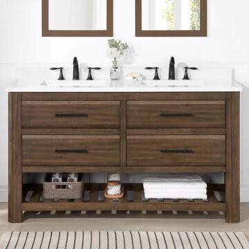 allen + roth Norris 60-in Rustic Almond Latte Undermount Double Sink Bathroom Vanity with White Engineered Stone Top in Brown   NORRIS-60RAL