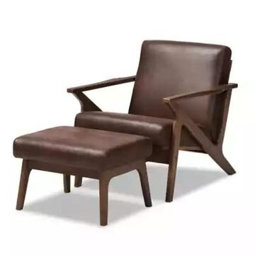 Baxton Studio Bianca 2-Piece Distressed Faux Leather Chair & Ottoman Set in Walnut/Dark Brown