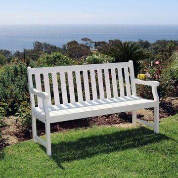 Vifah Bradley 5-Foot Outdoor Garden Bench in White
