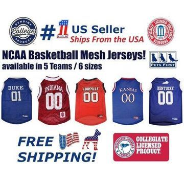 Pets First NCAA Kansas Jayhawks Basketball Mesh Jersey - Licensed, Brand NEW, 5 Collegiate Teams in 6 sizes