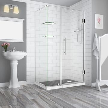 Aston Bromley GS 72-in H x 35-1/4-in to 36-1/4-in W Frameless Hinged Shower Door (Clear Glass) Stainless Steel   SEN962EZSS36223410
