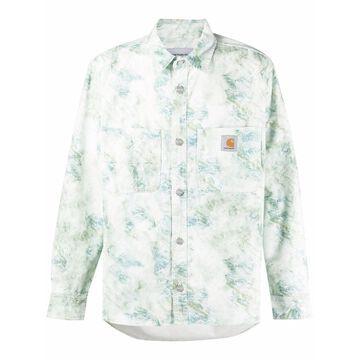 marble print pocket shirt