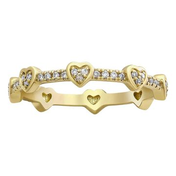10K Yellow Gold 1/5 ct. Diamonds Heart Eternity Band Ring by Beverly Hills Charm