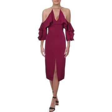 Cushnie et Ochs Womens Cocktail Dress Silk Cold Shoulder - 0