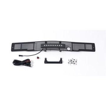 Putco 87160FPL Bumper Grille Insert; Stainless Steel Black; Bar Design; w/Heater Plug/10 in. Luminix Light Bar;