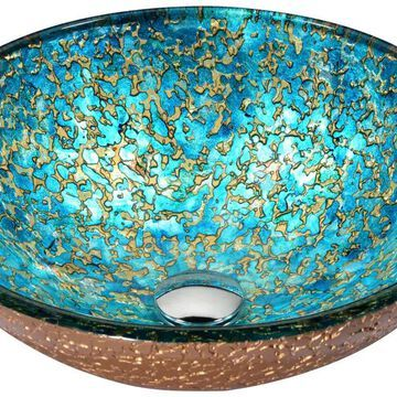 ANZZI Makata Gold/Cyan Mix Tempered Glass Vessel Round Bathroom Sink (Drain Included) (16.5-in x 16.5-in) | LS-AZ8211