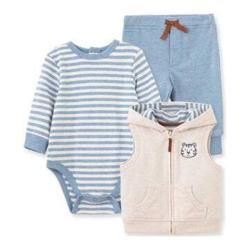 Little Me Baby Boy Tiger 3 Piece Vest Set
