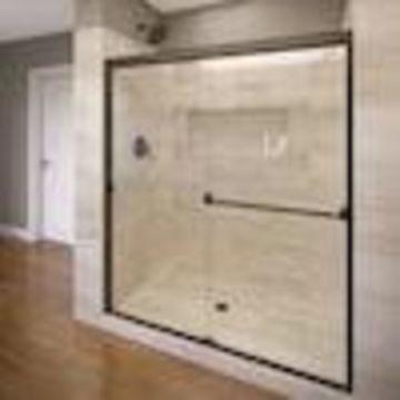 Basco Basco Classic 43-in to 47-in W Semi-frameless Oil Rubbed Bronze Bypass/Sliding Shower Door