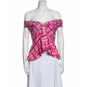 Plaid Print Off-The-Shoulder Crop Top w/ Tags Pink