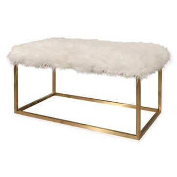 Abbyson Living Richelle Ottoman in White