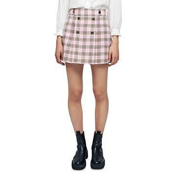Maje Jalisa Plaid Pleated Mini Skirt