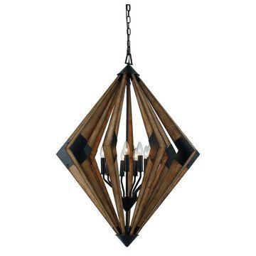 Cal Lighting FX-3679-9 Chandeliers Wood Metal/Wood Arezzo Wood