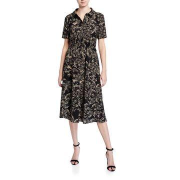 Smock-Waist Shirt Dress