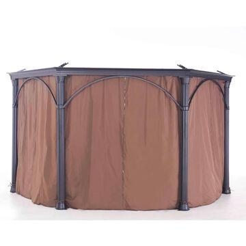 Sunjoy Universal Tan Privacy Curtain for Hexagonal Gazebo