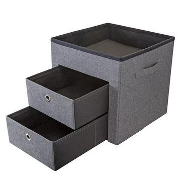 Simplify Two Drawer Collapsible Storage Ottoman, Grey