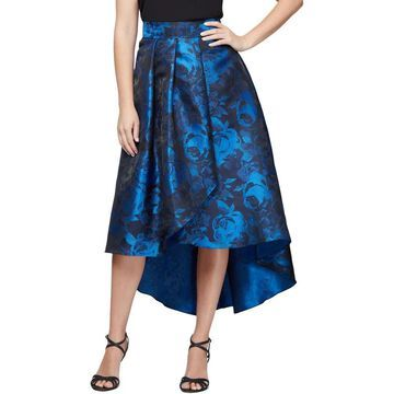 Alex Evenings Womens Midi Skirt Floral Print Hi-Low