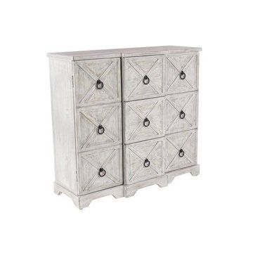 Decmode Traditional Wood and Iron Cabinet, Beige