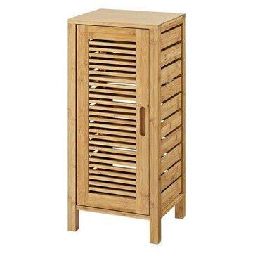 Linon Bracken 3 Shelf 1 Door Bathroom Storage Floor Cabinet, Bamboo