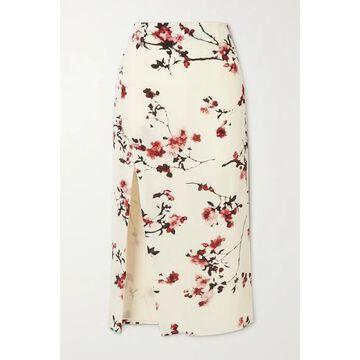 Altuzarra - Edmund Button-embellished Floral-print Silk Midi Skirt - Ivory