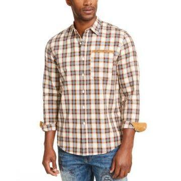 Sean John Men's Herringbone Woven Plaid Shirt