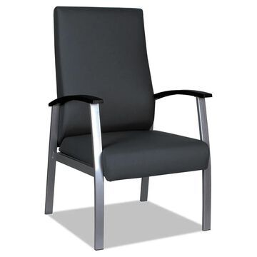 Alera metaLounge Series High-Back Guest Chair, 24.6'' x 26.96'' x 42.91'', Black Seat/Black Back, Silver Base - Clear (Clear)