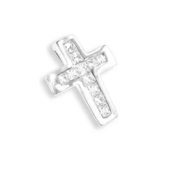 Luxurman 14k Gold 1/5ct TDW Princess-cut Diamond Small Cross Pendant (White)