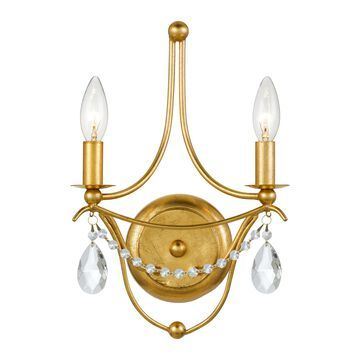 """Crystorama Metro 2-Light 15"""" Wall Sconce in Antique Gold with Clear Spectra Crystals"""