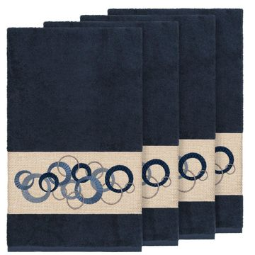 Authentic Hotel and Spa Turkish Cotton Circles Embroidered Midnight Blue 4-piece Bath Towel Set