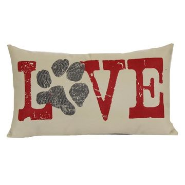 Brentwood ''Love'' Paw Print Woven Oblong Throw Pillow
