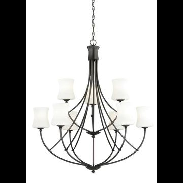 Vaxcel Lighting H0106 Poirot 9 Light Two Tier Chandelier with Frosted Glass Shad New Bronze Indoor Lighting Chandeliers