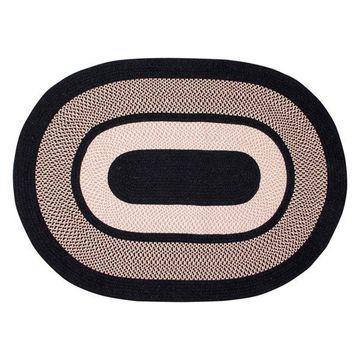 Better Trends Portland Wool Braid Rug, Black, 60