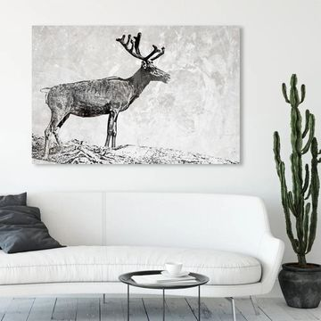 Oliver Gal 'In The Woods' Animals Wall Art Canvas Print - Gray, White