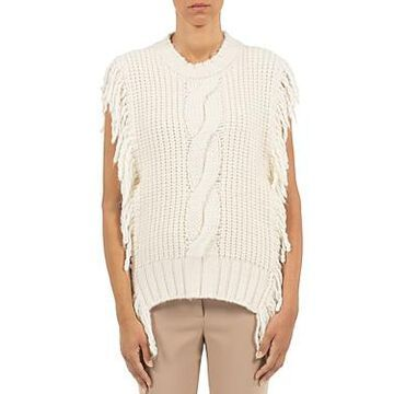 Peserico Cable Knit Fringe Trim Sweater