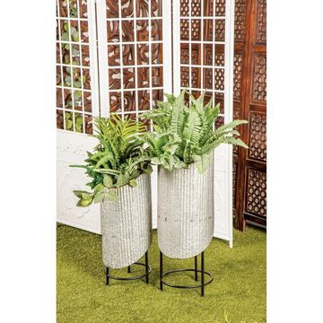 Set of 2 Rustic Cylindrical Rugged Metal Plant Stands by Studio 350