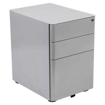 Flash Furniture Modern 3-Drawer Steel Mobile Locking Filing Cabinet in Grey