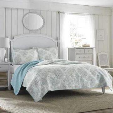 Laura Ashley Saltwater Blue Reversible Cotton Quilt Set
